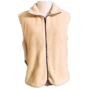 Columbia Cream Textured Fleece Zip Up Vest Size M